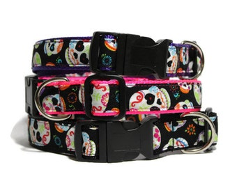 "Sugar Skull Dog Collar - Nylon Custom 1"" Dog Collar with Color Options"