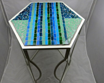 Hexagonal Mosaic Side Table or Plant Stand