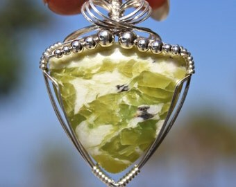 Serpentine Stone Pendant, Sterling Silver Wire Wrapped, Handmade Jewelry, Apple Green Stone, Necklace Free Shipping USA