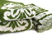 Vintage Bath Towels - Free Shipping - Towel Set - Green White Floral Towels - Jacquard - Fieldcrest Towels - Glamper Glamping Towels -6RTT16