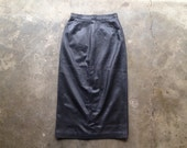 vintage 1980s black leather midi skirt by Ann Taylor. super soft butter leather. retro clothing.