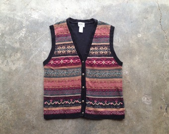 vintage 90s patterned textured sweater vest. retro clothing.