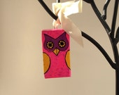 Vintage Hot Pink Owl Christmas Ornament, Retro Xmas