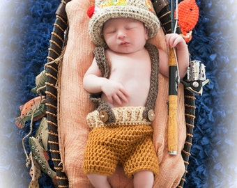 Crochet newborn 0-3 3-6 month baby fishing fisherman hat with fish boy or girl great photography photo prop