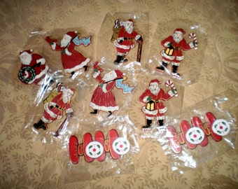 Collection of  Nine Vintage  Wooden Christmas Decorations