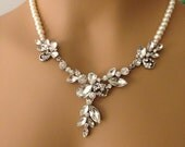 Bridal rhinestone pearl necklace country bridal statement necklace y necklace jewelry modern rhinestone cluster wedding necklace formal prom