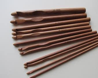 Carbonised Bamboo Hook Set - 12 hooks sizes 3mm to 10mm
