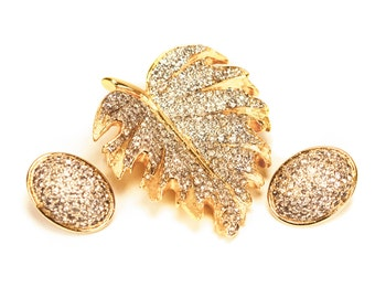 Nettie Rosenstein Pavé Rhinestone Leaf Brooch Earrings Set Signed