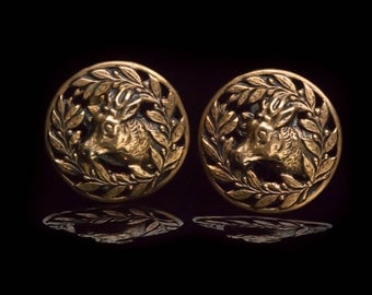 Vintage Stag & Holly Berry Wreath Brass Earrings Screw Back
