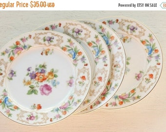 On Sale Occupied Japan Rose China Bread and Butter Plates, Set of 4, Vintage, Tea Parties, Wedding, Replacement China