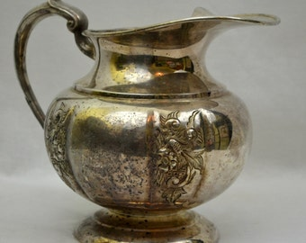 Vintage Silver Plate Pitcher, Ornate Short Round Water Pitcher Old English Reproduction