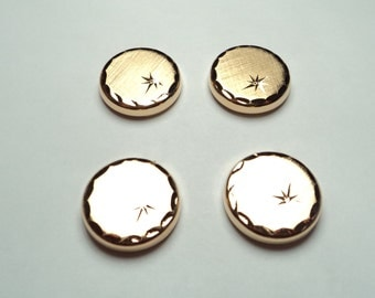 4 pcs - Gold plated Button Covers  - bc02