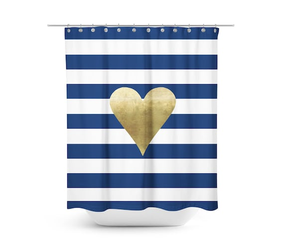 Navy And White Shower Curtain Fabric Curtain Stripes Love Heart Gold