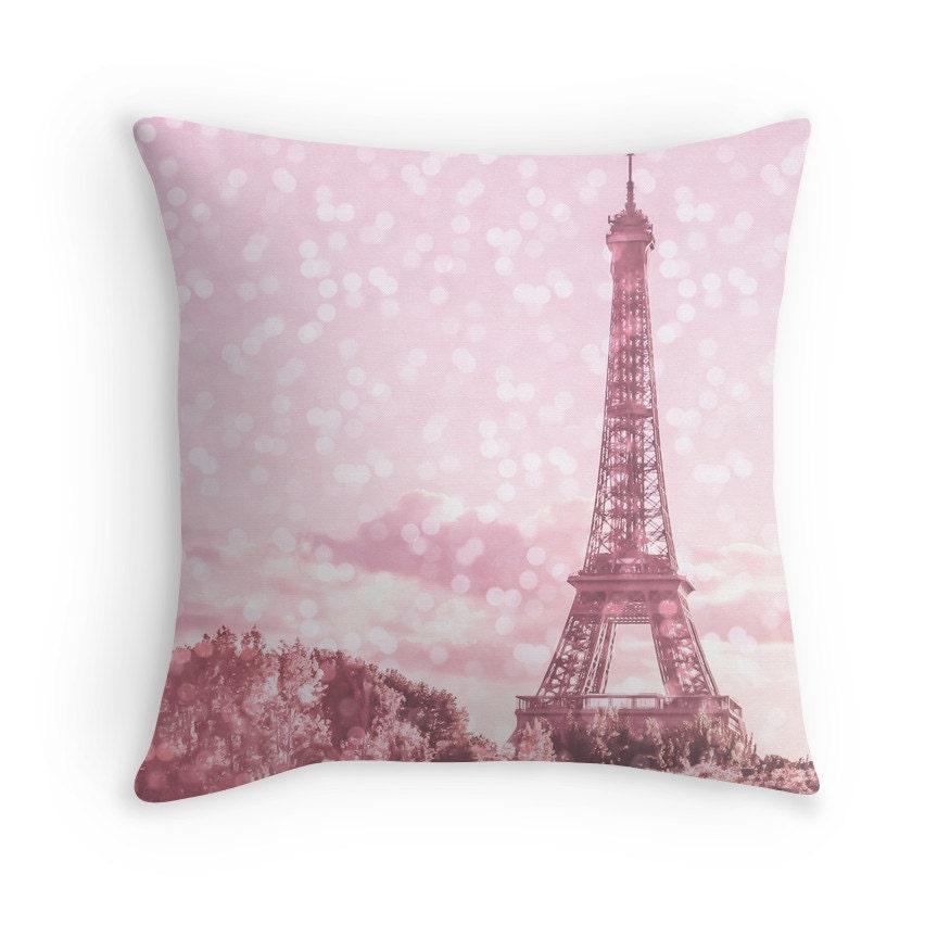 Decorative Pillows Eiffel Tower : Pink Paris Eiffel Tower throw pillow