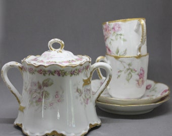 French Vintage tea or coffee set Limoges, Limoges sugar bowl, Limoge Hand painted cups and saucers, Hand painted French sugar bowl porcelain