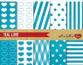 80% off BLUE Teal Graphics DIGITAL Background Patterns Blue PAPER Digital Collage Sheet Valentines Digital Paper 12/15