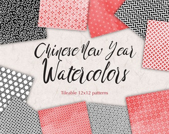 Chinese New Year Digital Backgrounds Watercolor Paper Pack Red Black Digital Graphics Oriental Patterns 12x12 Geometric Paper Pack