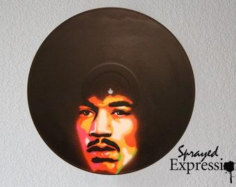 Jimi Hendrix Vinyl Record Painting
