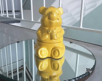 Retro Bright Yellow Small Winnie the Pooh Hunny Pot Cookie Jar / Collectible Walt Disney / Figurine Figure Statue