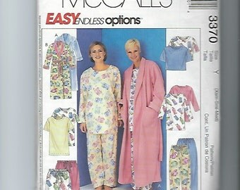 Uuncut Sewing Pattern McCalls 3370 for Robe and Pajamas, Sz XS, SML, MED