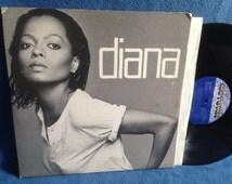 "Vintage, Diana Ross - ""Diana"", Vinyl LP, Record Album, 1980 Original Motown Press, Upside Down, Tenderness, I'm Coming Out, Funk, Soul, R&B"