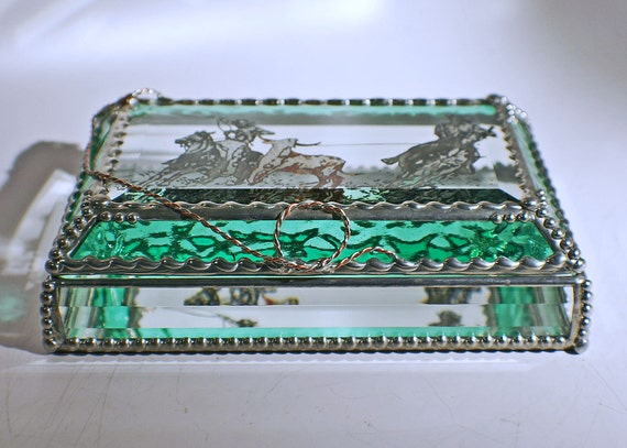 Etched Hand Painted Team Roping - Aqua Green Treasure Box