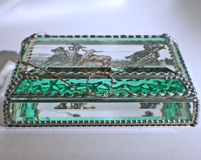 Etched Hand Painted Team Roping - Aqua Green Treasure Box