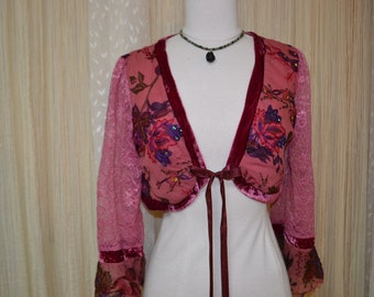 Beaded Bolero Jacket....shades of pink....small....