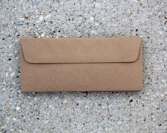 Set of 25 Number 10 Natural Brown Business Envelopes Recycled Kraft Brown Envelopes