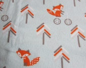Woodland Foxes, Large receiving blanket, swaddling balanket, flannel blanket, foot prints in pastel, baby boy, reusable gift wrap