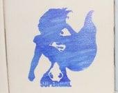 """Laser engraved 4.25"""" x 4.25"""" Square ceramic tile Supergirl for Coaster or Plaque"""