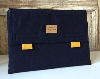 "Macbook air 11 inch case, Macbook Case Cover, Laptop Bag, envelope case ""Navy_Mustard Yellow"""