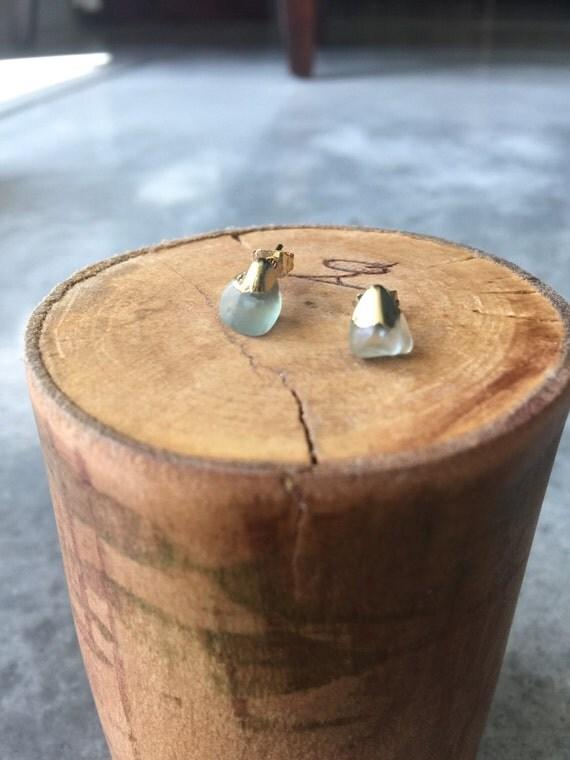Fluorite gold dipped earrings