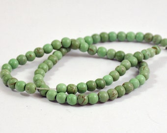 One Full Strand---Round Green Turquoise Ball Beads----6mm 8mm 10mm---15.5inch strand