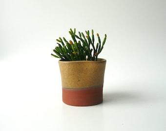 Ceramic Succulent Planter, Cactus Planter, Office Decor, Ceramic Bowl, Ceramic Cup, Organic Shape in Ochre, Variegated Brown by Cecilia Lind