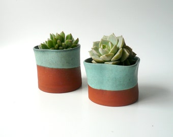 Set of Two Ceramic Succulent Planters, Cactus Planter, Office Decor, Ceramic Cup, Organic Shape in Tuequoise, Teal and Brown by Cecilia Lind