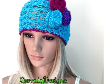 SALE, Was 17.99 Now 9.99 Unique womens,teen,pink,grey lace crocheted knit turquoise, ski headband,ear warmer,hairband.