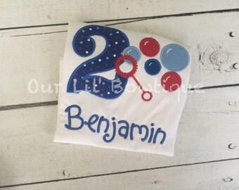 Bubble Birthday Shirt - Bubble Wand Shirt - Bubble Birthday - Personalized Birthday Shirt - Boy - Bubble Wand Birthday Shirt