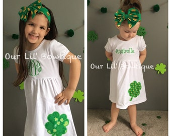 Four Leaf Clover Dress - Girls St. Patricks Day Dress - Shamrock Shirt - St. Patricks Day Applique Dress - Shamrock Dress - Monogram