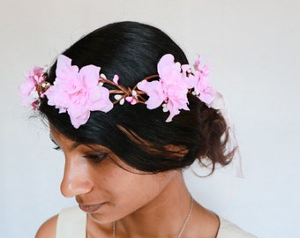 pink flower floral bridal hair crown wreath hairpiece boho cream wedding hair accessories ivory