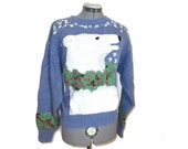 Snuggly Polar Bear vintage wool intarsia blue, white and green sweater - snowflakes / Christmas Orvis L Coke
