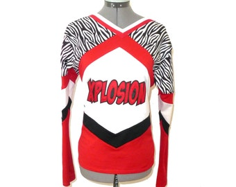 "FINAL SALE Red, white and black zebra ""XPLOSION"" cheerleading top - vintage stretchy graphic halloween costume L M dress up uniform"
