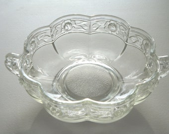 Aztec Clear Glass Dish by Jeannette Rose Band Scalloped Mid Century Discontinued Pattern