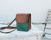 handmade leather bag, green and brown vegetable tanned leather by Genati, small crossbody leather bagman, man,woman