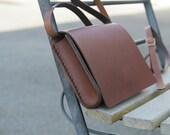 handmade leather brown bag, handstitched, vegetable tanned leather; GENATI