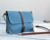 handmade leather bag, handstitched bleu calf leather, women small bag