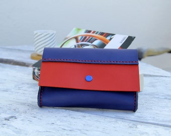 handmade leather clutch, GENATI handstitched leather red and blue wallet , women or man wallet