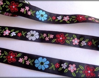 Jacquard Floral Ribbon, Black / Multi , 3/4 inch wide, 1 yard, For Home Decor, Accessories, Apparel, Victorian & Romantic Crafts