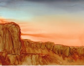 "Ink Painting, ""Red Rock"" , matted, backed, ready for framing"