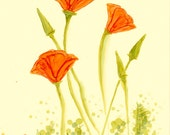 "Ink Painting, ""California Poppies"", matted, backed, ready for framing, art, wall decor, red. orange, green"